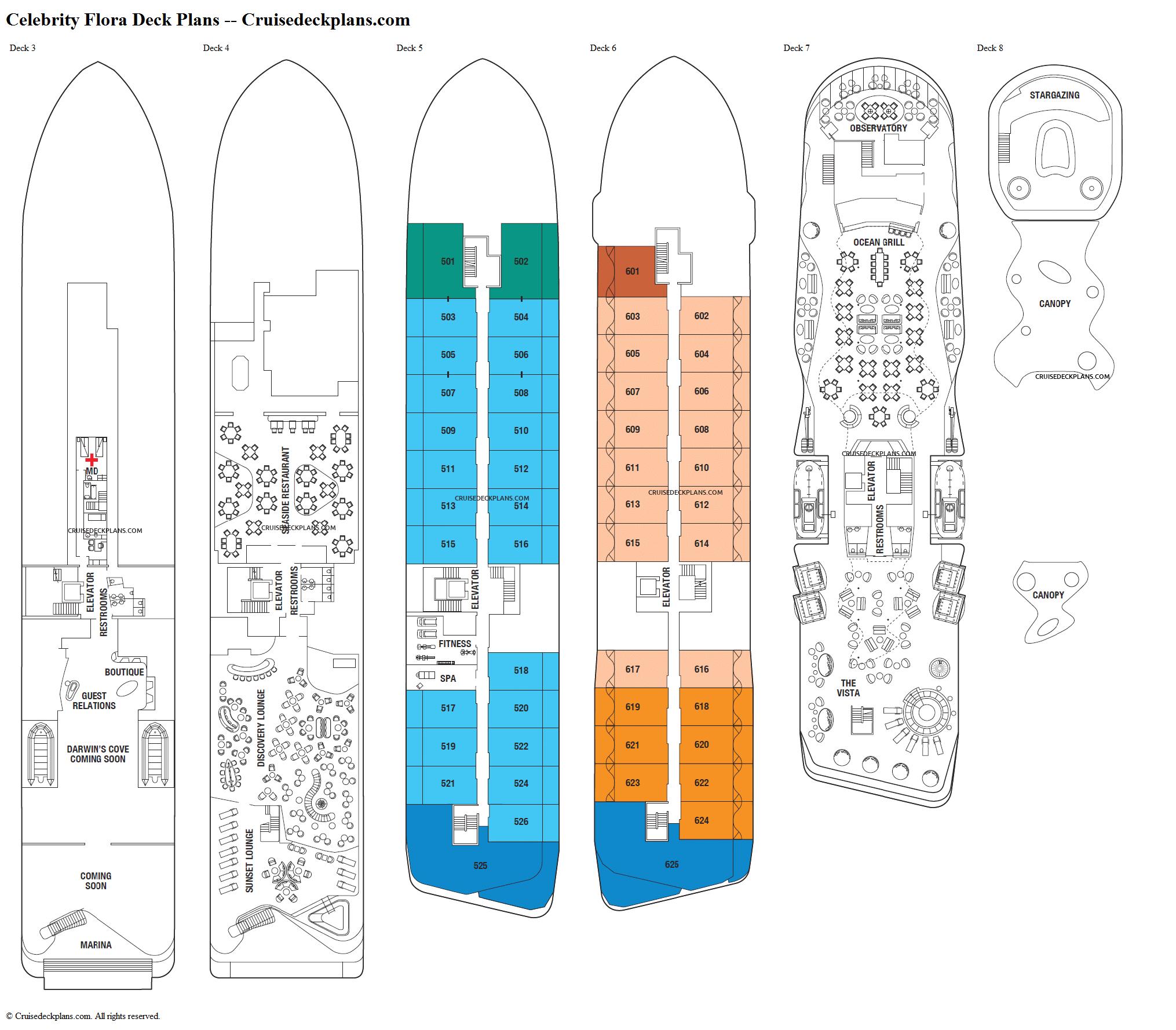 Celebrity flora deck 6 deck plan tour for Deck blueprints