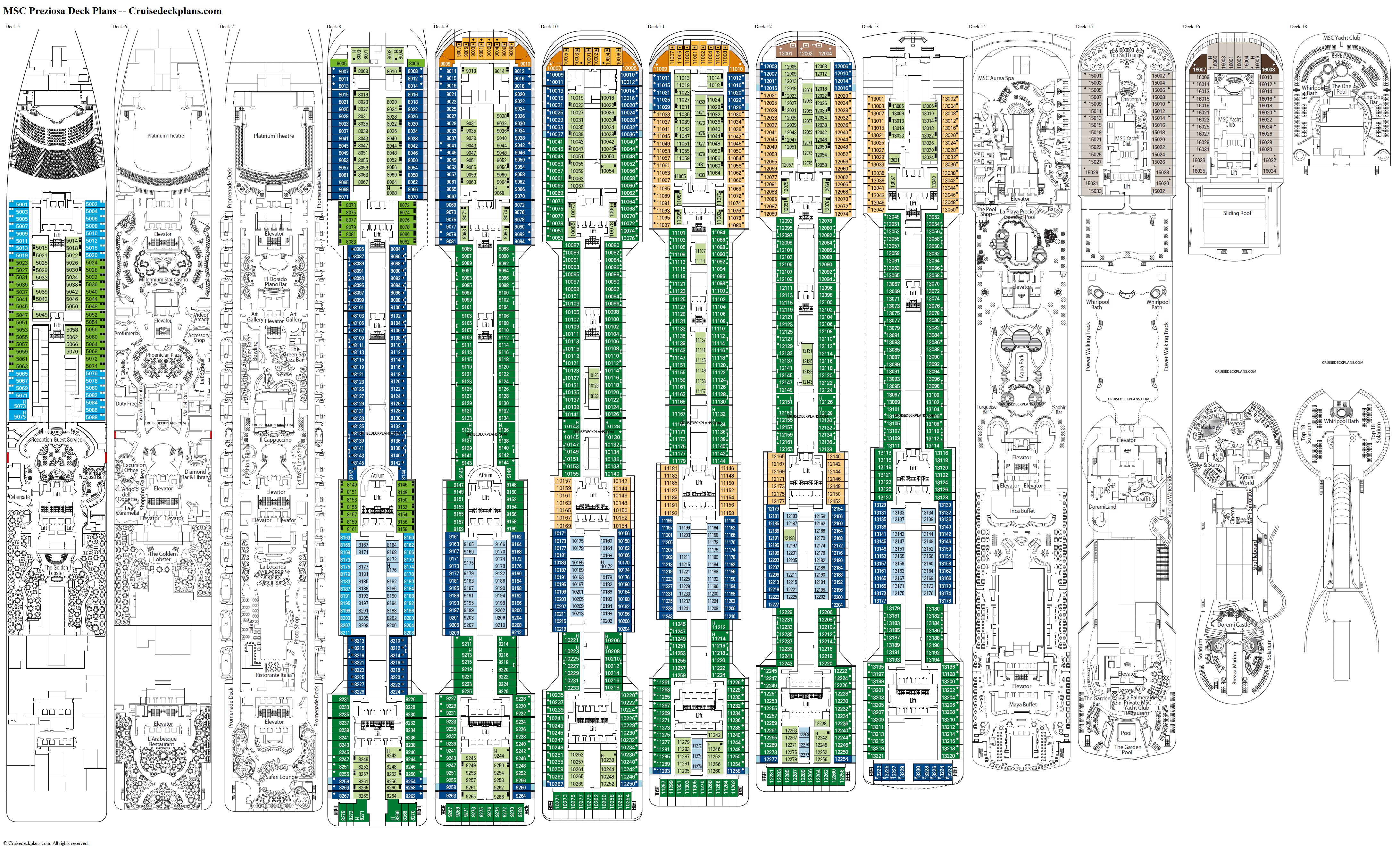 MSC Preziosa deck plans image